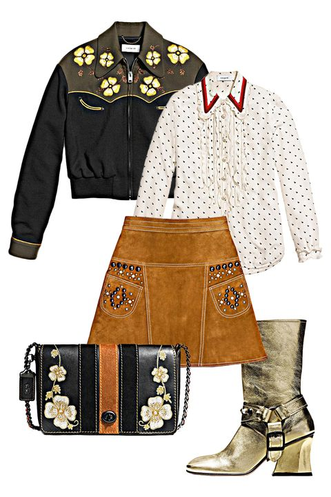 "<p>In the mood for a sob song? Instead of grabbing ye olde cowboy boots, try a chic and contemporary take on Western wear. Suede + studs = style. </p><p><em data-redactor-tag=""em"">Coach 1941 Western Blouson, $895, <a rel=""noskim"" href=""http://www.coach.com/coach-designer-vest-western-blouson/56472.html?CID=D_B_MRC_11561"" target=""_blank"">coach.com</a>; Coach <em data-redactor-tag=""em"">1941 </em>Mini Bunny Print Shirt with Ruffle, $495, <a rel=""noskim"" href=""http://www.coach.com/coach-designer-tops-mini-bunny-print-shirt-with-ruffle-/56451.html?CID=D_B_MRC_11562"" target=""_blank"">coach.com</a>; Coach <em data-redactor-tag=""em"">1941 </em>A-Line Skirt with Studs, $795, <a rel=""noskim"" href=""http://www.coach.com/coach-designer-pants-a-line-skirt-with-studs/56347.html?CID=D_B_MRC_11563"" target=""_blank"">coach.com</a>; Coach <em data-redactor-tag=""em"">1941 </em>Western Embroidery Dinky Crossbody 24, $650, <a rel=""noskim"" href=""http://www.coach.com/coach-designer-crossbody-western-embroidery-dinky-crossbody-24-in-glovetanned-leather/56671.html?CID=D_B_MRC_11564"" target=""_blank"">coach.com</a>; Coach <em data-redactor-tag=""em"">1941 </em>Harness Boot, $595, <a rel=""noskim"" href=""http://www.coach.com/coach-designer-boots-harness-boot/Q8918.html?dwvar_color=GLD&amp;dwvar_size=10%20%20B&amp;CID=A_L1_SIDJ84DHJLQkR4&amp;CID=D_B_MRC_11565"" target=""_blank""><span id=""selection-marker-1"" class=""redactor-selection-marker"" data-verified=""redactor"" data-redactor-tag=""span"" data-redactor-class=""redactor-selection-marker""></span>coach.com</a></em></p>"