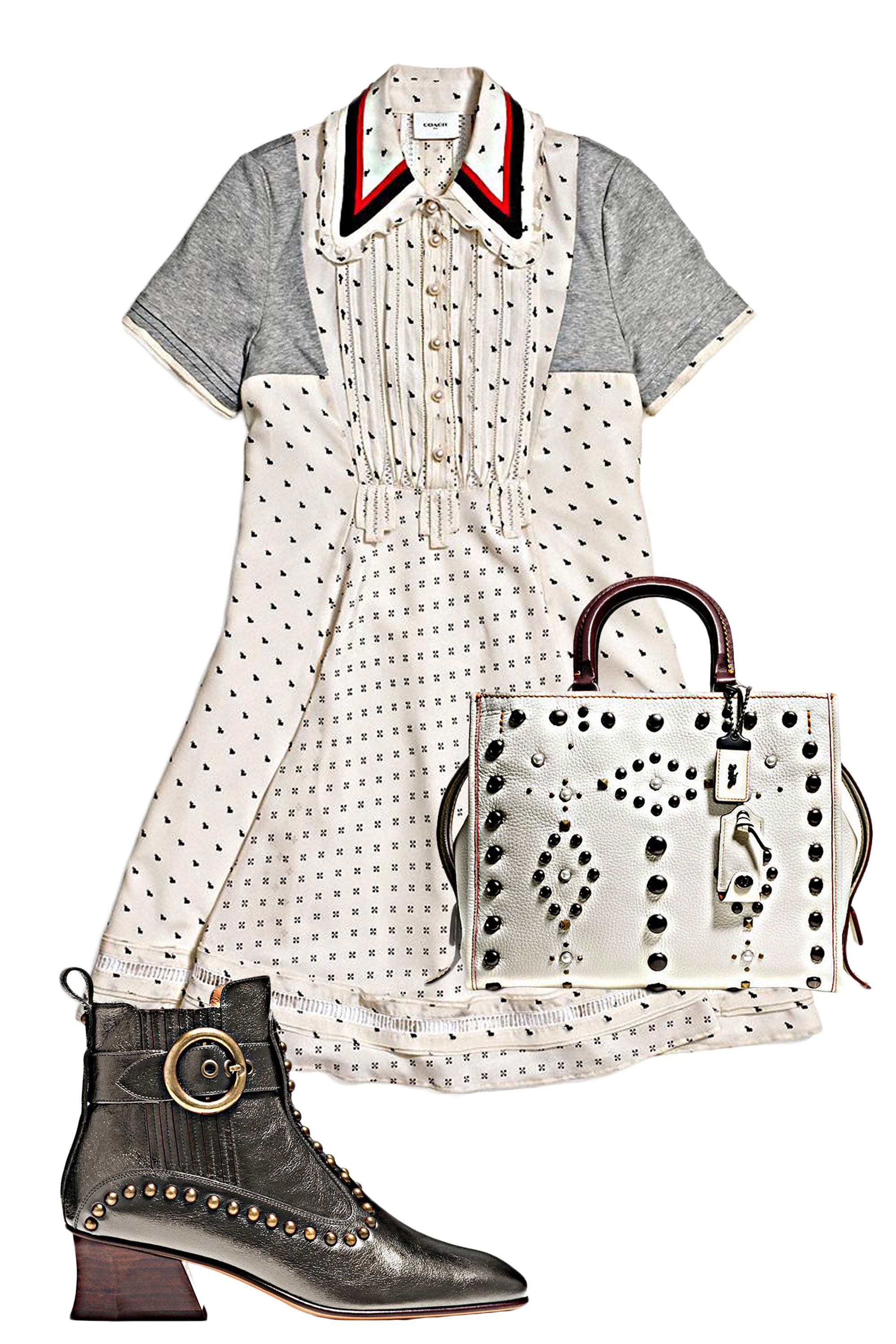 "<p>This sweet printed dress with mini bunnies gets a little extra edge with the help of a sick bag and studded boots<span class=""redactor-invisible-space"" data-verified=""redactor"" data-redactor-tag=""span"" data-redactor-class=""redactor-invisible-space""></span>—because who wants to spend all night dancing in stilettos?