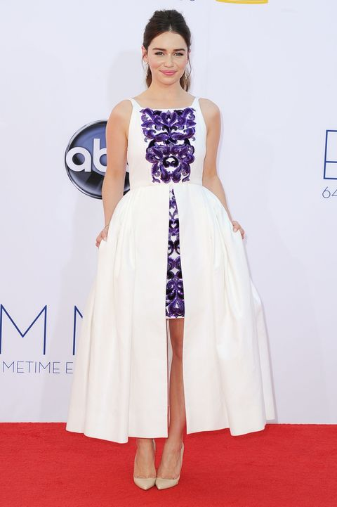<p>Clarke (AKA&nbsp;Khaleesi) walked the Emmy Awards red carpet in this purple and white dress&nbsp;in 2012.&nbsp;</p>