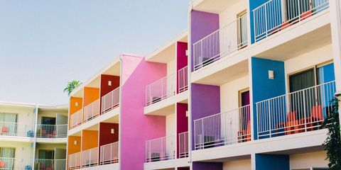 Property, Facade, Real estate, Home, Residential area, Pink, Building, Balcony, Magenta, Apartment,