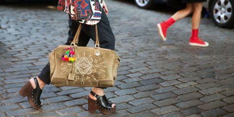 Clothing, Footwear, Leg, Brown, Human leg, Joint, Shoe, Bag, Red, Style,