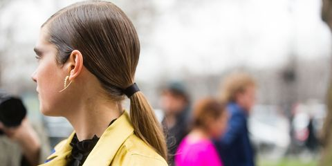 Ear, Hairstyle, Earrings, Style, Body piercing, Fashion, Street fashion, Long hair, Costume, Ponytail,