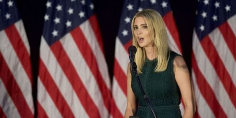 Microphone, Event, Flag, Flag of the united states, Red, Dress, Public speaking, Speech, Spokesperson, Singing,