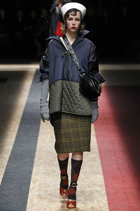 <p>Alternatively, do the man/fancy woman thing Miuccia Prada knows best, and go for pre-yoga&nbsp;Don Draper&nbsp;vibes with an argyle&nbsp;pair pulled up high. (Yours will likely have toes, though.)&nbsp;</p>