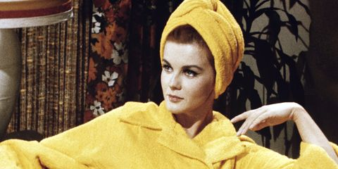 Yellow, Textile, Headgear, Portrait, Portrait photography, Vintage clothing, Makeover, Bonnet, Knit cap, Woolen,