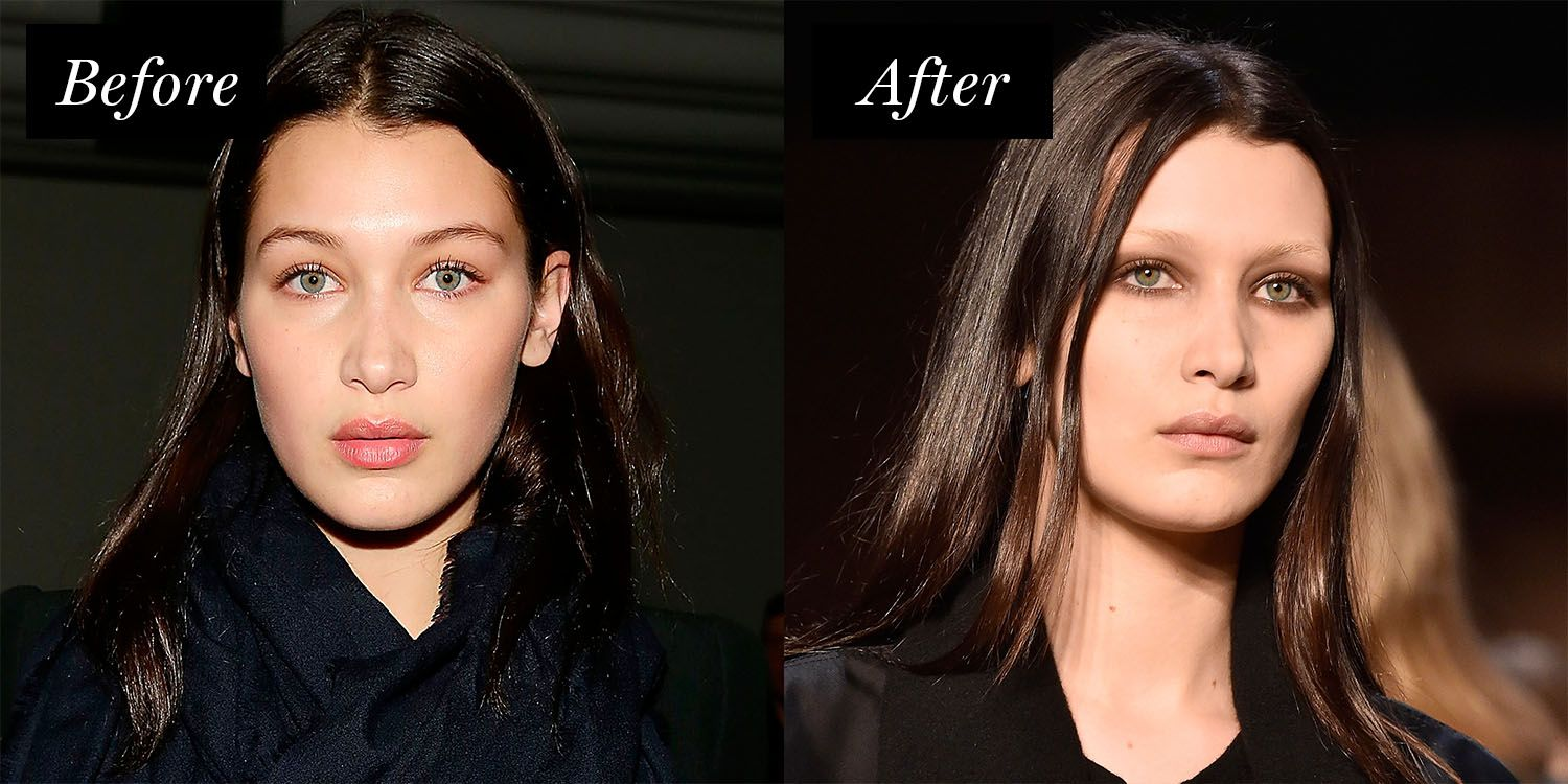 <p>At Givenchy's Fall 2016 show, Hadid looked hauntingly beautifuldonninga fresh glow and barely-there brows.</p>