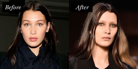 <p>At Givenchy's Fall 2016 show, Hadid looked hauntingly beautiful&nbsp;donning&nbsp;a fresh glow and barely-there brows.</p>