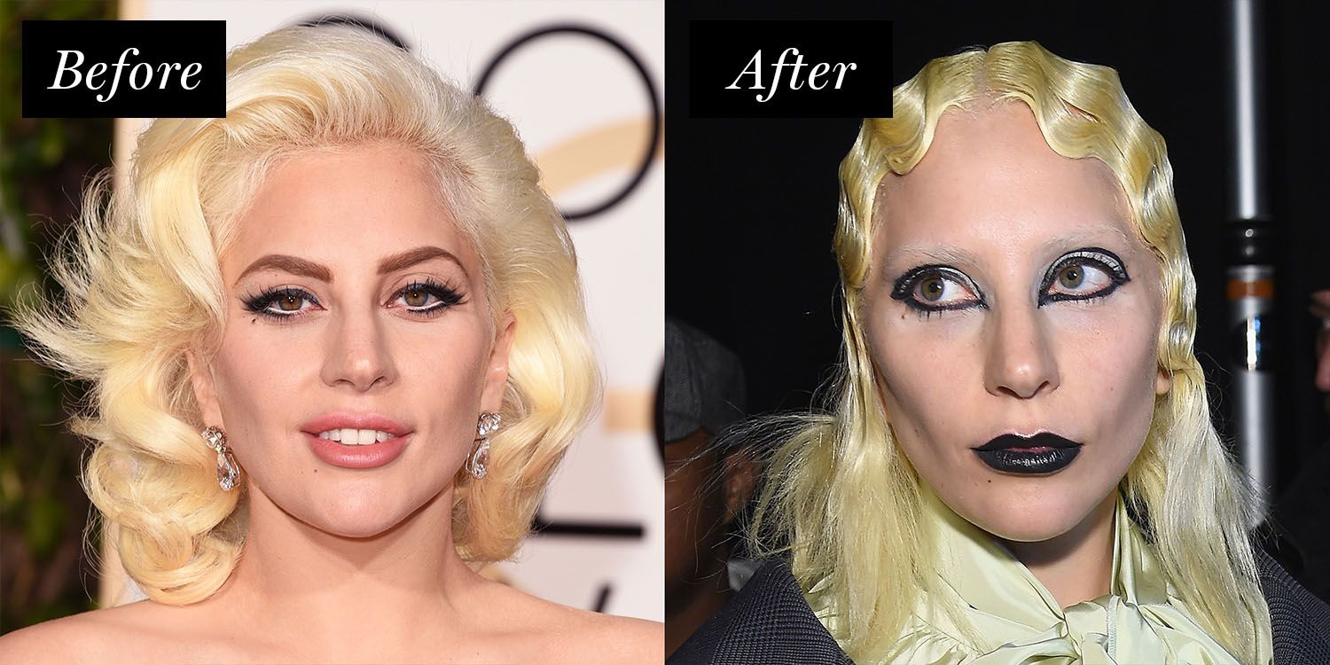<p>It's not uncommon to find Gaga with washed-out brows, but for Marc Jacob's Fall 2016 show, she took the look next level with a decidedly gothic face beat.</p>