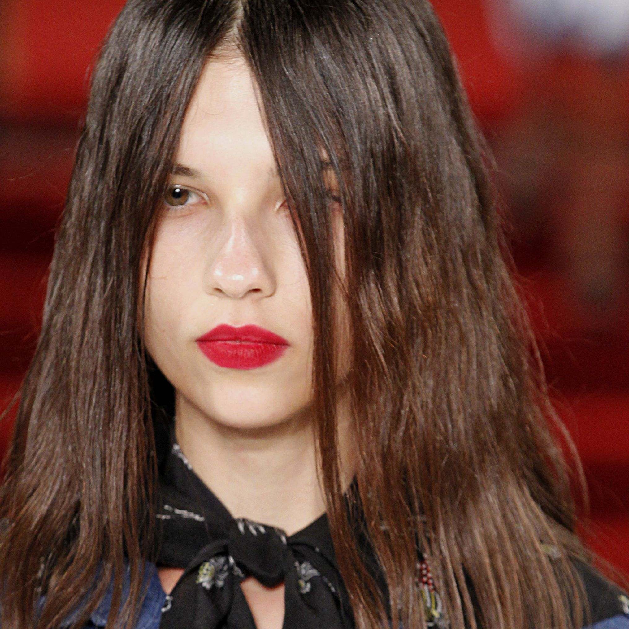 """<p>You can take your beloved matte red lip to the next level by making like makeup artist Mark Carrasquillo at Creatures of the Wind Spring 2017, who patted on a layer of hot pink blush to 1) give the lips a powdery effect and 2) provide a long-lasting finish so it doesn't move all day.<span class=""""redactor-invisible-space"""" data-verified=""""redactor"""" data-redactor-tag=""""span"""" data-redactor-class=""""redactor-invisible-space""""></span></p>"""