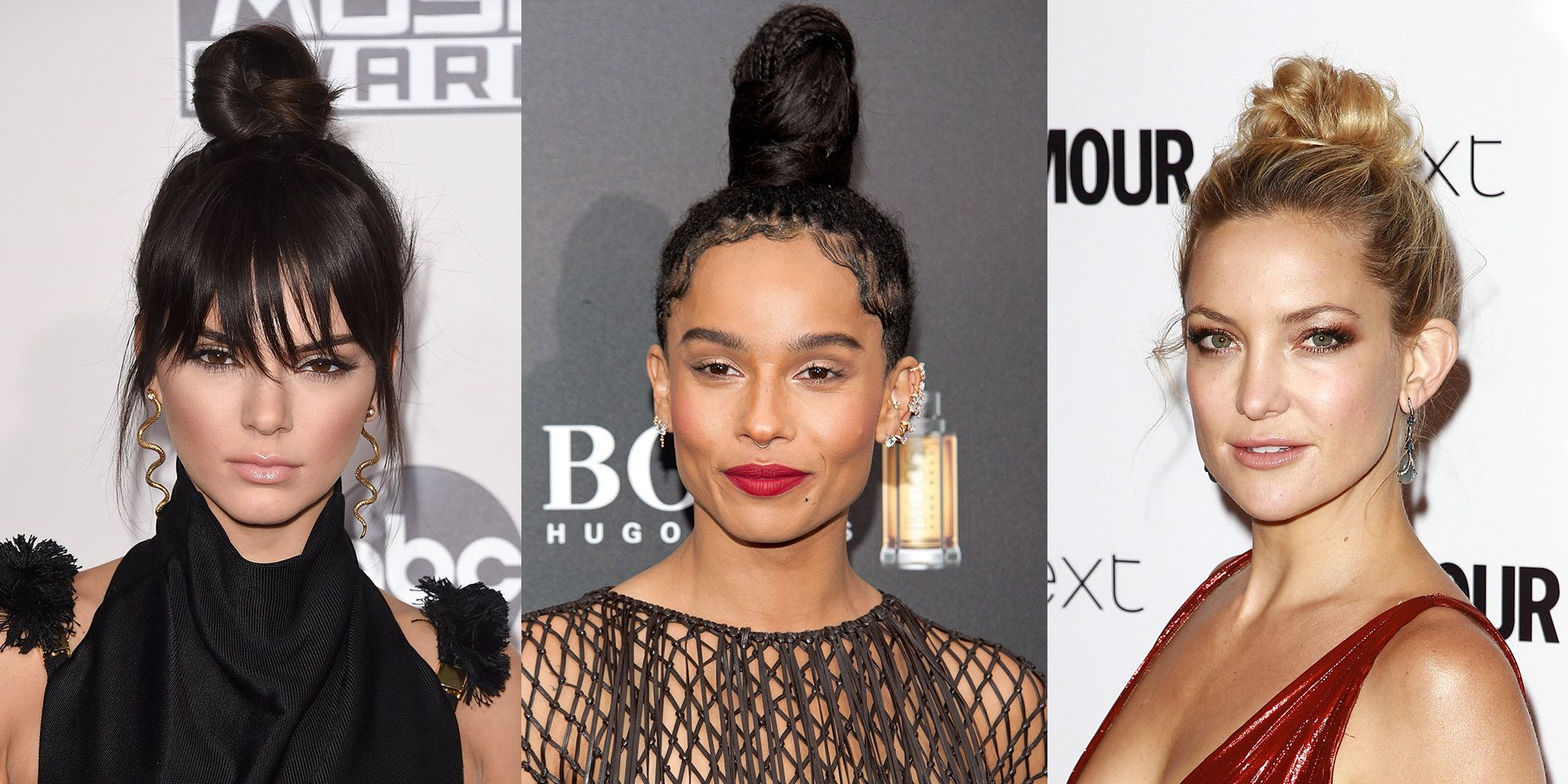 Three women with top knots of varying heights