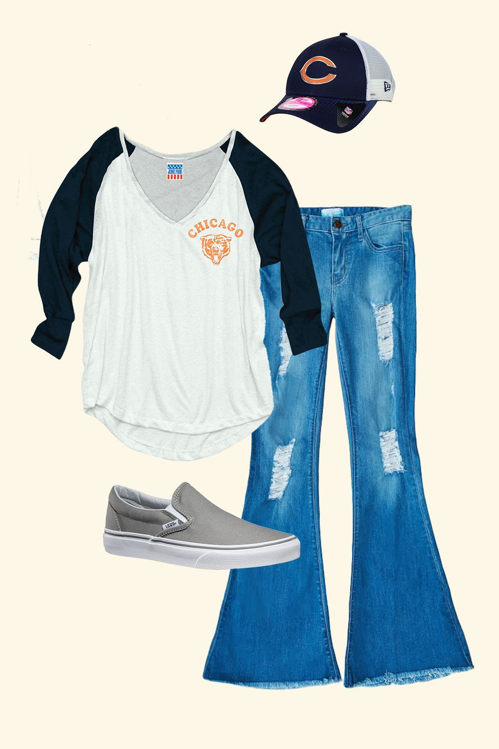 "<p>The T-shirt and cap say ""I'm a fan"" while the trendy denim in the flattering flare says ""I'm also cute AF.""</p><p><br></p><p><em data-redactor-tag=""em"" data-verified=""redactor"">Phoenix Flare, $136, <a href=""http://www.showmeyourmumu.com/shop/denim/phoenix-flare-drizzle"" target=""_blank"">showmeyourmumu.com</a>; Junk Food Bears Tee, $45, <a href=""http://www.nflshop.com/Chicago_Bears_Women/Womens_Chicago_Bears_Junk_Food_White_Victory_Tri-Blend_V-Neck_Three-Quarter_Sleeve_T-Shirt"" target=""_blank"">nflshop.com</a>; Vans Slip-Ons in Wild Dove, $50, <a href=""http://www.vans.com/shop/slip-on-wild-dove-true-white"" target=""_blank"">vans.com</a>; New Era Bears Cap, $24, </em><a href=""http://www.nflshop.com/Chicago_Bears_Women_Hats/Womens_Chicago_Bears_New_Era_Navy_Spirited_9TWENTY_Adjustable_Hat"" target=""_blank""><em data-redactor-tag=""em"" data-verified=""redactor"">nflshop.com</em></a></p>"