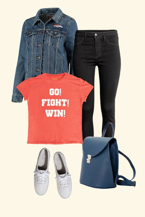 """<p>Show your spirit (and get a wardrobe classic&nbsp;to boot) with a denim jacket that features your favorite team—then add some easy basics like black jeans, a sleek bag, and sneakers.&nbsp;</p><p><br></p><p><em data-redactor-tag=""""em"""" data-verified=""""redactor"""">Levi's NFL Denim Jacket, $108, <a href=""""http://www.levi.com/US/en_US/features/nfl"""" target=""""_blank"""">levi.com</a>;&nbsp;H&amp;M Skinny High Ankle Black Jeans, $10, <a href=""""http://www.hm.com/us/product/47550?"""" target=""""_blank"""">hm.com</a>;&nbsp;Coalson Go Fight Win Tee, $77, <a href=""""http://www.showmeyourmumu.com/coalson-tee-go-fight-win-graphic"""" target=""""_blank"""">showmeyourmumu.com</a>;&nbsp;Keds Champion Jersey in Light Gray, $50, <a href=""""http://www.keds.com/en/champion-jersey/14077W.html?dwvar_14077W_color=WF55600#cgid=women-ourshops-seasonalcollection&amp;start=1"""" target=""""_blank"""">Keds.com</a>;&nbsp;Neely &amp; Chloe No. 3 the Backpack, $298, </em><a href=""""https://neelyandchloe.com/product/no-3-the-backpack-soft/"""" target=""""_blank""""><em data-redactor-tag=""""em"""" data-verified=""""redactor"""">neelyandchloe.com</em></a></p>"""