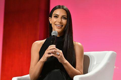 Kim Kardashian wearing engagement ring
