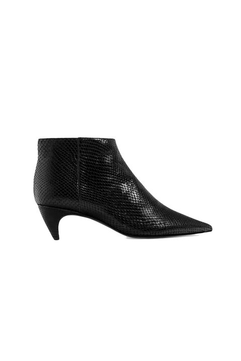 "<p>With that sculpted kitten heel, definitely *not* your ordinary black booties.</p><p>$139,&nbsp;<a href=""http://www.zara.com/us/en/woman/shoes/view-all/embossed-leather-low-heel-ankle-boots-c734142p3610292.html"" target=""_blank"">zara.com</a> </p>"
