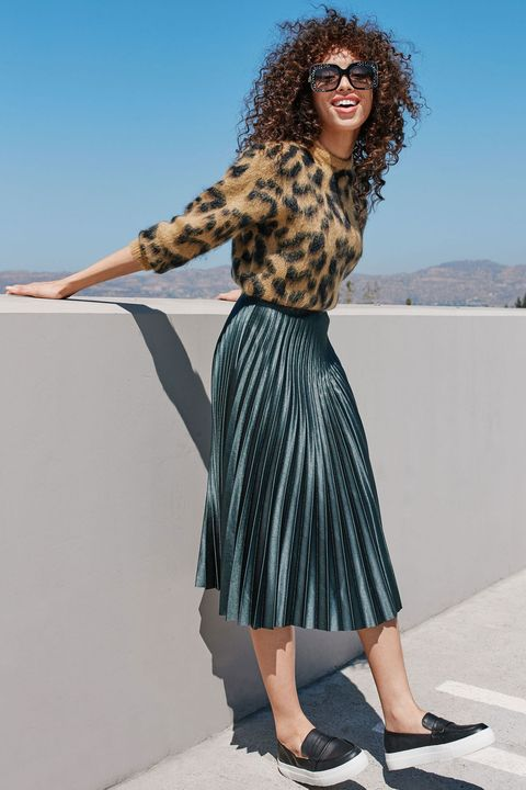 "<p>Start the week off right: A classic ladylike silhouette—the full accordion skirt—feels modern in a rich metallic hue. Skip the expected silky blouse and rock it with a bold printed sweater and loafer-like slip-on sneaks instead. (Glam statement sunglasses optional.) </p><p><br> </p><p><em data-redactor-tag=""em"">Toga Leopard Jacquard Knit Wool Blend Sweater, $425, <a href=""http://shop.nordstrom.com/s/toga-leopard-jacquard-knit-wool-blend-sweater/4398016"" target=""_blank"">nordstrom.com</a>; Zara Pleated Midi Skirt, $69.90, <a href=""http://www.zara.com/us/en/woman/skirts/view-all/pleated-midi-skirt-c733908p3720577.html"" target=""_blank"">zara.com</a>; Calvin Klein Women's Jaiden Platform Sneakers, $119, <a href=""http://www1.macys.com/shop/product/calvin-klein-womens-jaiden-platform-sneakers?ID=3026180&CategoryID=26499&swatchColor=Black&selectedSize=#fn=COLOR%3DBlack%26SNEAKER_TYPE%3DSlip-On%26sp%3D2%26spc%3D86%26ruleId%3D78%26slotId%3D105"" target=""_blank"">macys.com</a>; Gucci Sunglasses, $330, <a href=""http://www1.macys.com/shop/product/gucci-sunglasses-gg3814-s?ID=2901762&CategoryID=28295&LinkType=&selectedSize=#fn=PRODUCT_DEPARTMENT%3DSunglasses%26sp%3D1%26spc%3D22%26ruleId%3D65%26slotId%3D11%26kws%3Dgucci"" target=""_blank"">macys.com</a></em></p>"