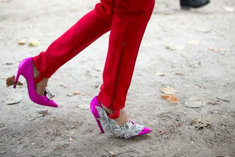 Footwear, Shoe, Purple, Magenta, Human leg, Pink, Violet, Carmine, Street fashion, Maroon,