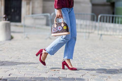 Clothing, Blue, Bag, Textile, Denim, Red, Street fashion, Luggage and bags, Carmine, Maroon,