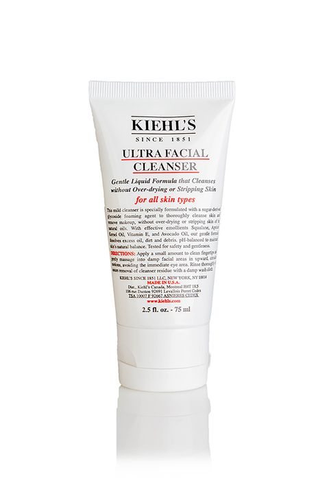 "<p>This 2.5 oz bottle is TSA-approved, and the mild formula is pretty much perfect for all skin types. Basically a&nbsp;win-win.</p><p>Kiehl's Ultra Facial Cleanser,&nbsp;$19.50;&nbsp;<a href=""http://www.kiehls.com/ultra-facial-cleanser/714.html"" target=""_blank"">Kiehls.com</a></p>"