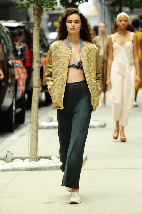 <p>At Rachel Comey, a printedbralette pairs easily with an embossed bomber and ribbed pants. Great for the weekend (if your brunch is more of theaçai-bowl variety, that is).</p>