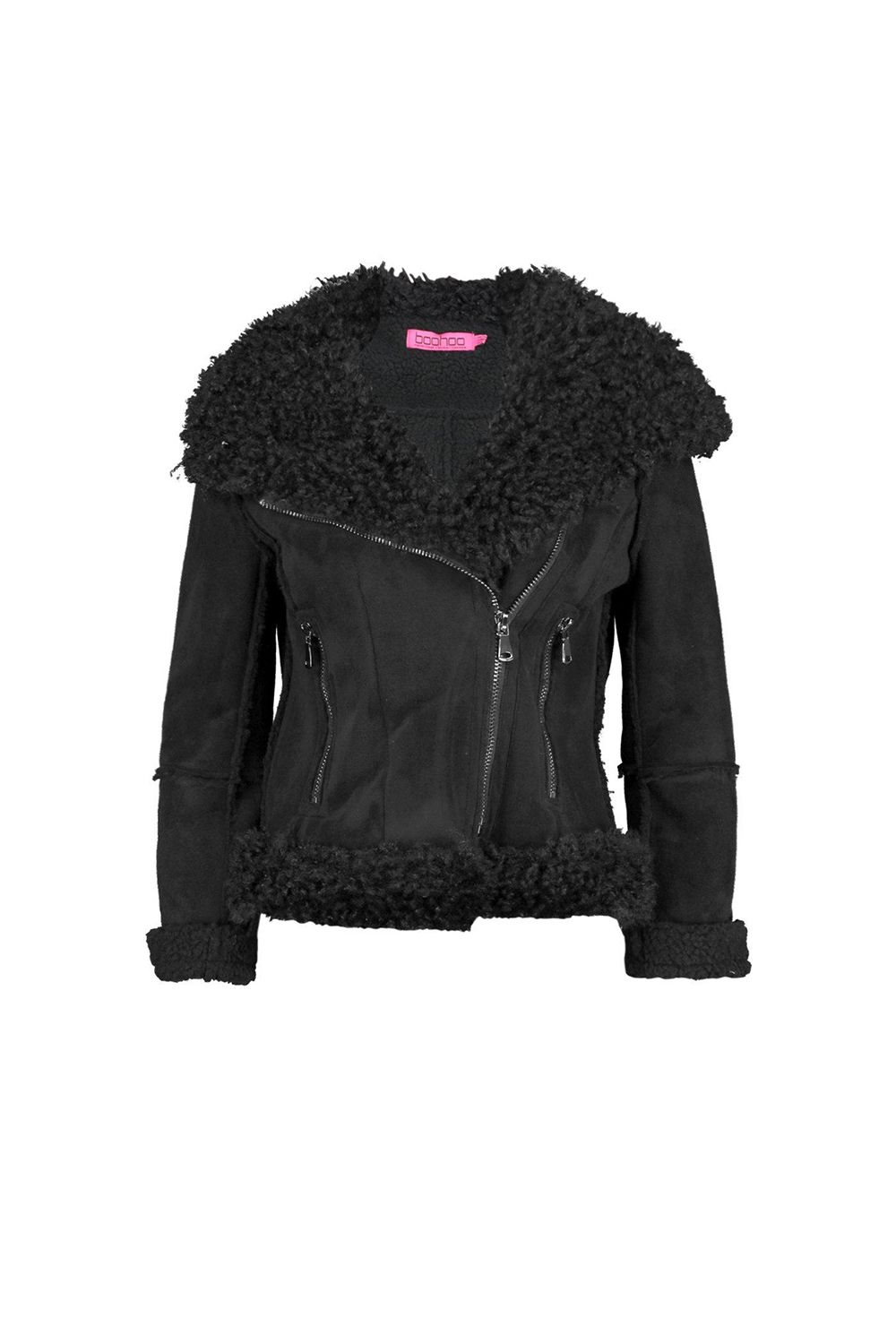 """<p>You know what they say about big collars: more fluff.</p><p>$105, <a href=""""http://us.boohoo.com/lola-bonded-biker-with-mongolian-faux-fur/DZZ79723.html?color=105"""" target=""""_blank"""" data-tracking-id=""""recirc-text-link"""">boohoo.com</a>.</p>"""