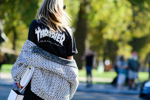 Sleeve, Street fashion, Back, Waist, Bag, Long hair, Blond, Hip, Pattern, Shoulder bag,