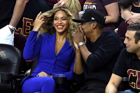 "<p>At the finals this summer, she went royal blue in an <a href=""http://www.harpersbazaar.com/celebrity/latest/news/a16185/beyonce-jay-z-nba-finals-game/"" target=""_blank"" data-tracking-id=""recirc-text-link"">Altuzarra suit</a>.&nbsp;</p>"