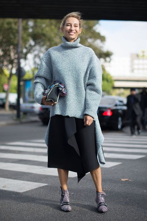 <p>Speaking of sweaters, pull on your roomiest, most well-worn one (roll out of bed first), then an equally roomy skirt. Your shoes will have to be a bit&nbsp;less comfy to show that you're a human girl under all that wool and not a marshmallow, but that's a small price to pay.&nbsp;</p>