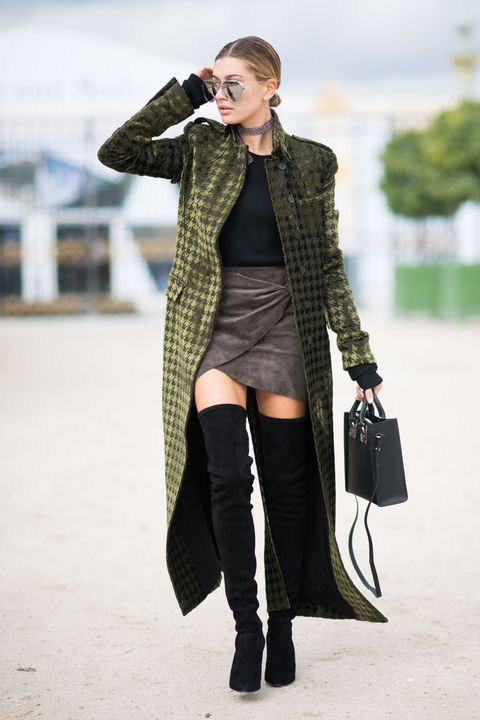 <p>Over-the-knee-boots AKA&nbsp;savior of Girls Who Go Out everywhere. Here,&nbsp;Hailey Baldwin contradicts&nbsp;the judgmental-lady peanut gallery—WEREN'T YOU YOUNG ONCE TOO, BARBARA—with a short hemline (and long coat). Who's going to catch her death NOW, Maude, huh??&nbsp;</p>