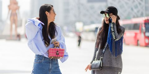 Winter, Bag, Denim, Textile, Jeans, Outerwear, Street fashion, Fashion accessory, Luggage and bags, Plaid,