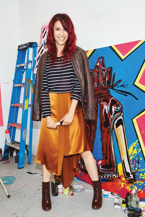 Textile, Style, Bag, Street fashion, Electric blue, Knee, Red hair, Fashion design, Boot, Costume design,