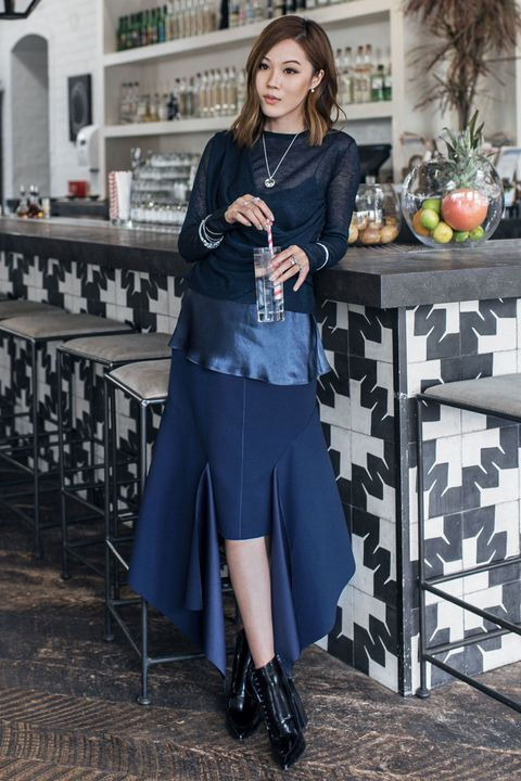 "<p>A visual lesson on making monochrome infinitely more interesting: mix textures and silhouettes. Layer a silk camisole underneath a sheer knit, and over an asymmetrical skirt, and don't forget to add a touch of glitz with accessories. ""Sterling silver is the perfect complement to blue,"" says Tsang.</p>  <p><em data-redactor-tag=""em"">ByTSANG Cardigan; Vince Camisole; Vince Skirt; Tony Bianco Boots; PANDORA Jewelry Crystalized Blues, price varies, <a href=""http://estore-us.pandora.net/en-us/holiday-color%3A-blue/?icid=WinterHues_Row2C1_Blue/&amp;cid=BrndMedia_Drop6_Dec_2016_MarieClaire_CustomContent_NativeInfluenceArticles_HolidayColorBlue_Assortment"" target=""_blank"" data-tracking-id=""recirc-text-link"">pandora.net</a></em></p>"