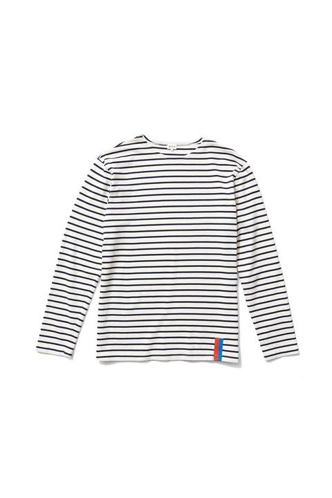 "<p>Like the classic Saint James but <del data-redactor-tag=""del"" data-verified=""redactor"">cool</del> <del data-redactor-tag=""del"" data-verified=""redactor"">kewl</del> kule, this stolid jersey knit comes in slim and boyfriend fits and with clever design details like a sleeve narrow enough to stay up, a drop shoulder, and their signature orange and blue tab. &nbsp; </p><p><br> </p><p>$128, <a href=""https://www.kule.com/collections/stripes/products/the-boyfriend-cream-navy#"" target=""_blank"" data-tracking-id=""recirc-text-link"">kule.com</a>.</p>"