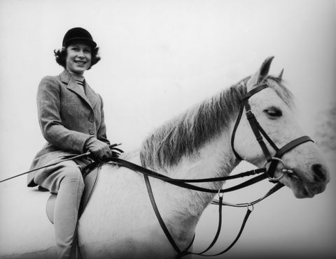 April 1940:  Princess Elizabeth out riding at the Royal Lodge, Windsor.  (Photo by Lisa Sheridan/Studio Lisa/Getty Images)