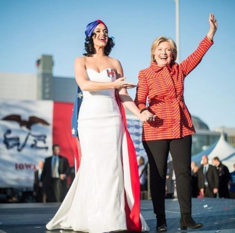 <p>Katy Perry has been stumping for Hillary since the primaries and we'll never forget the #ImWithHer ball gown she wore to support HRC. Also, get used to seeing Katy because this is far from her only memorable moment campaigning for Clinton this year.</p>