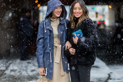 Winter, Coat, Jacket, Outerwear, Jeans, Street fashion, Freezing, Snow, Fur, Holiday,