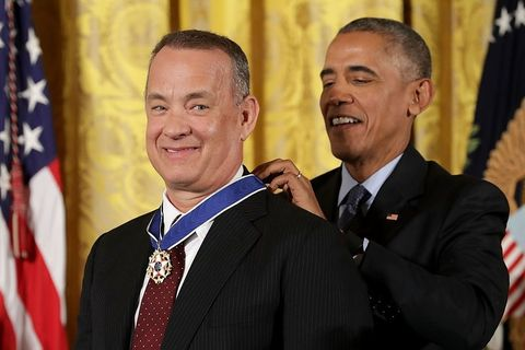 "<p>Easily one of the nation's most beloved actors and filmmakers, Tom Hanks has been nominated for the Academy Award for Best Actor in a Leading Role five times, ultimately winning twice for <em data-redactor-tag=""em"">Philadelphia </em>and <em data-redactor-tag=""em"">Forrest Gump. </em>He is also a vocal advocate for social and environmental justice and veterans' rights.</p>"