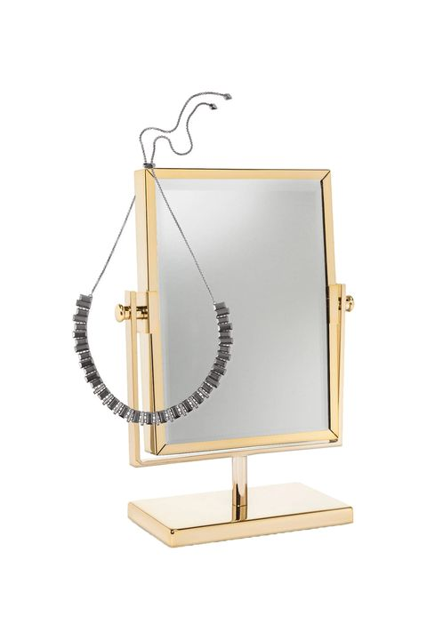 "<p>Anyone working with a small space knows that adding mirrors helps create a sense of depth and dimension, and the same principle holds true for a vanity. See your makeup and hair from every angle and add visual intrigue to your dressing table by decorating with mirrors of various shapes and sizes. Pro tip: It doubles as a necklace stand. <em data-redactor-tag=""em"">Kendra Scott Cheska Bolo Necklace, $120, <a href=""http://www.kendrascott.com/cheska-hematite-bolo-necklace-in-drusy.html"" target=""_blank"" data-tracking-id=""recirc-text-link"">kendrascott.com</a></em>; <em data-redactor-tag=""em"" data-verified=""redactor"">West Emory Two-Sided Gold Vanity Mirror, $25, <a href=""http://www.target.com/p/west-emory-two-sided-gold-vanity-mirror/-/A-16965268?ref=tgt_adv_XS000000&amp;AFID=google_pla_df&amp;CPNG=PLA_Home+Decor+Shopping&amp;adgroup=SC_Home+Decor&amp;LID=700000001170770pgs&amp;network=s&amp;device=c&amp;location=9004072&amp;gclid=CLWfwansutACFUxLDQodoWELjw&amp;gclsrc=aw.ds"" target=""_blank"" data-tracking-id=""recirc-text-link"">target.com</a></em></p>  <p><em data-redactor-tag=""em"" data-verified=""redactor""><em data-redactor-tag=""em"" data-verified=""redactor""></em></em></p>"