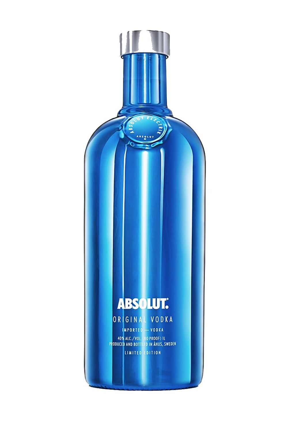<p>The limited-edition bottles for Absolut come in both striking metallic blue and silver.</p>