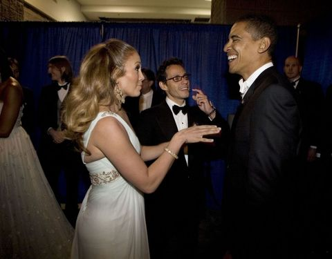 <p> J.Lo cracks up the president backstage at the inaugural ball, where she and then-husband Marc Anthony performed in 2009.</p>