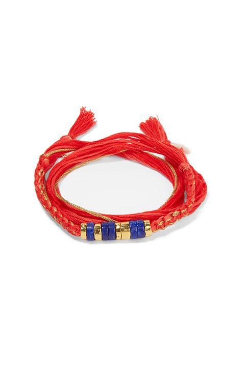 "<p>It's *French,* plus the last time you macramé-ed was in sixth grade but all you made was a big granny knot.</p>  <p>$145, <a href=""https://www.net-a-porter.com/us/en/product/732912/Aurelie_Bidermann/takayama-gold-plated-lapis-lazuli-coral-and-cotton-bracelet"" target=""_blank"" data-tracking-id=""recirc-text-link"">net-a-porter.com</a>.</p>"