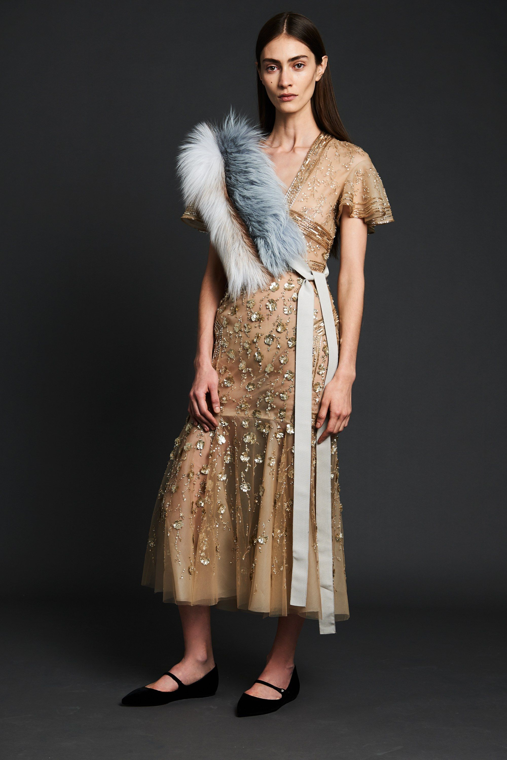 "<p>Just in time for this season, which we suppose could also fall under the city-block-size umbrella that is ""pre-fall,"" here is an extremely pretty dress made even prettier with a fur scarf tied cross-body. Look at the flats too. Delicious. </p>"