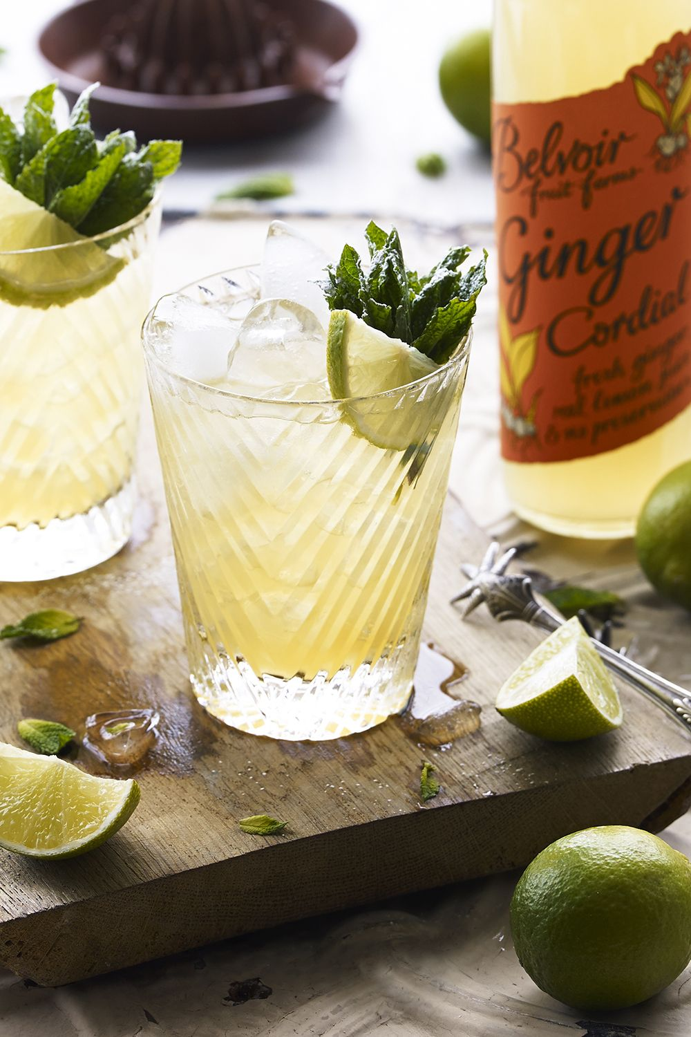 "<p>This refreshing drink features ginger, mint, and lime—perfect alongside a slice of apple pie. </p><p><strong data-redactor-tag=""strong"" data-verified=""redactor"">Ingredients:</strong> </p><p>2 Lime Wedges</p><p>5 Mint Leaves</p><p>1/2 fl oz Belvoir Ginger beer </p><p>1.5 fl oz White Rum</p><p>1.5 fl oz Apple Juice</p><p><strong data-redactor-tag=""strong"" data-verified=""redactor"">Directions:</strong></p><p>Mix in a highball glass with cubed ice; garnish with fresh or candied ginger.</p>"