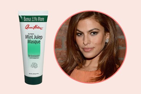 "<p>In an interview with <a href=""http://www.refinery29.com/2016/06/114457/eva-mendes-circa-beauty-line-interview "" target=""_blank"" data-tracking-id=""recirc-text-link"">Refinery 29</a>, Mendes revealed that when she's on set in the middle of nowhere, she seeks&nbsp;out the nearest Walgreens for Queen Helene's face masks. The do-it-all formulas zap pimples, draw out impurities, and shrink pores in one fell swoop.</p><p>Queen Helene Mint Julep Masque, $4.99;&nbsp;<a href=""https://www.walgreens.com/store/c/queen-helene-masque-mint-julep/ID=prod7481-product"" target=""_blank"" data-tracking-id=""recirc-text-link"">walgreens.com</a>.<span class=""redactor-invisible-space"" data-verified=""redactor"" data-redactor-tag=""span"" data-redactor-class=""redactor-invisible-space""></span><br></p>"