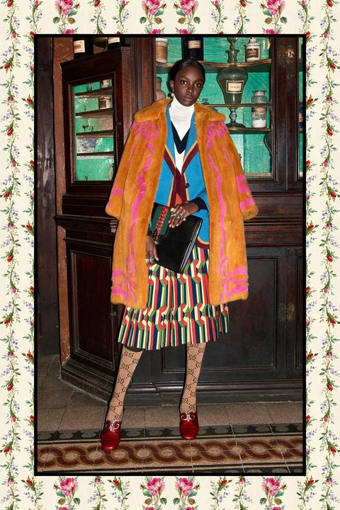 "<p>With branded stockings, Gucci reminds us to <a href=""http://www.marieclaire.com/fashion/news/g4214/party-shoes-socks/"" target=""_blank"" data-tracking-id=""recirc-text-link"">have fun with pattern and hosiery</a>, one of the few joys a girl can experience in February. Look to Rochas and Céline too for <a href=""http://www.marieclaire.com/fashion/news/g2752/unexpected-color-combos/"" target=""_blank"" data-tracking-id=""recirc-text-link"">other creatively clash-y combos</a>, like&nbsp;maroon with&nbsp;doctor's-scrubs&nbsp;green.</p>"