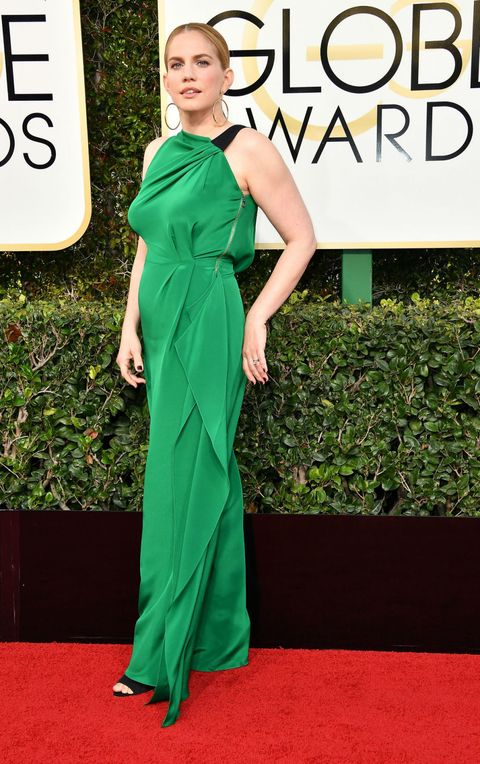 Green, Dress, Shoulder, Flooring, Style, Formal wear, Fashion model, Carpet, One-piece garment, Eyelash,