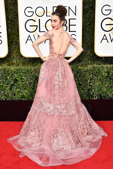 lily collins is one of the 2017 golden globes red carpets