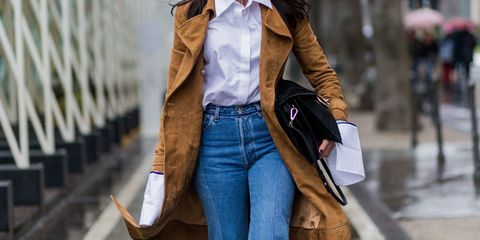 Clothing, Brown, Collar, Sleeve, Denim, Jeans, Textile, Bag, Outerwear, Style,