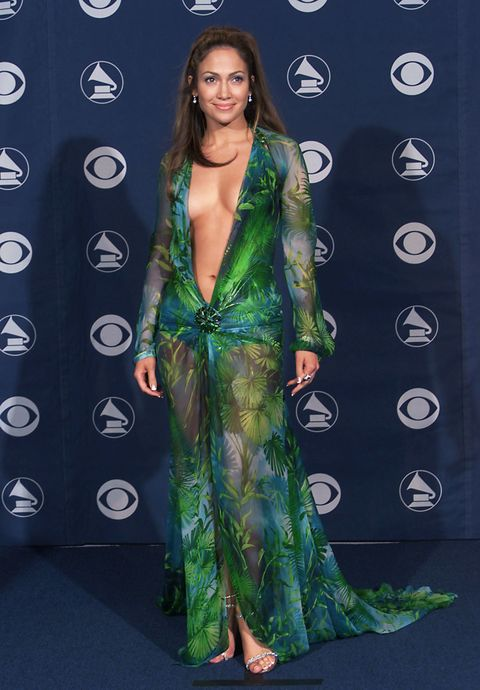 """<p>Arguably the most iconic Grammy's dress of all time (of all time!), J.Lo wore a <a href=""""http://www.marieclaire.com/celebrity/news/g4355/plunging-necklines-trend-golden-globes-2017/"""" target=""""_blank"""" data-tracking-id=""""recirc-text-link"""">pluuunging</a>, sheer Versace dress (andlots of double-sided tape, probably).</p>""""/></figure>    <p>This is arguably one of the most iconic Grammy's look. Jennifer Lopez wore a very plunging Versace dress.</p>    <p>Picture credit: Getty Images</p>    <p></p>    <h2>7. Britney Spears</h2>    <figure class="""
