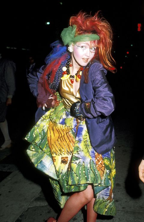 <p>Cyndi Lauper keeping it quirky in a very '80s mash-up of colors and prints.&nbsp;</p>