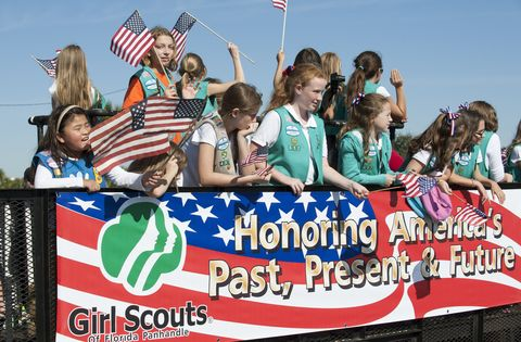 Community, Event, Flag, Fan, Banner, Cheering, Team, Flag Day (USA), Girl scouts of the usa, Advertising,